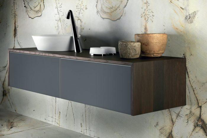 Karol Bathroom Furniture - Floating vanity unit with black drawers and dark wood finish